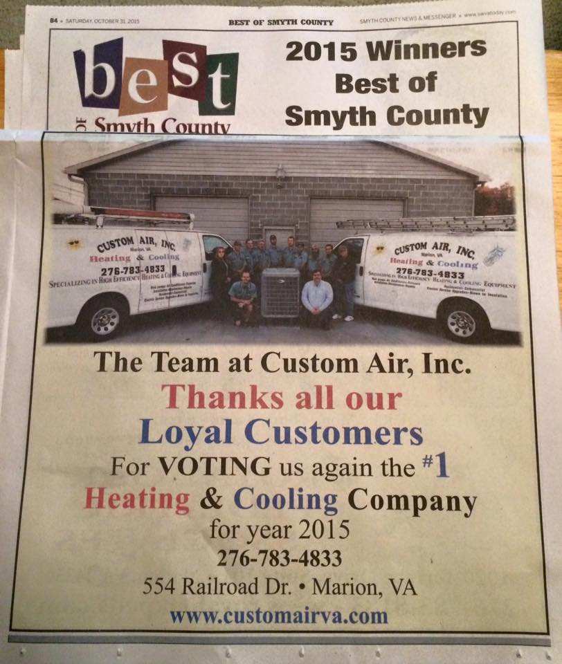 ONCE AGAIN CUSTOM AIR WAS VOTED #1 HEATING AND COOLING COMPANY FOR 2015